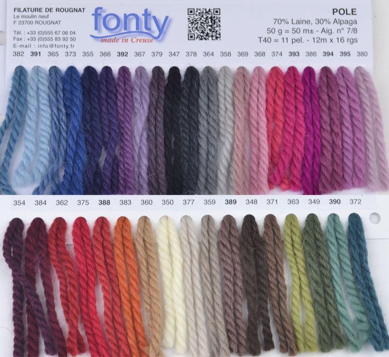 Gamme couleurs laine Pole de Fonty