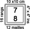 échantillon 12 mailles 16 rangs