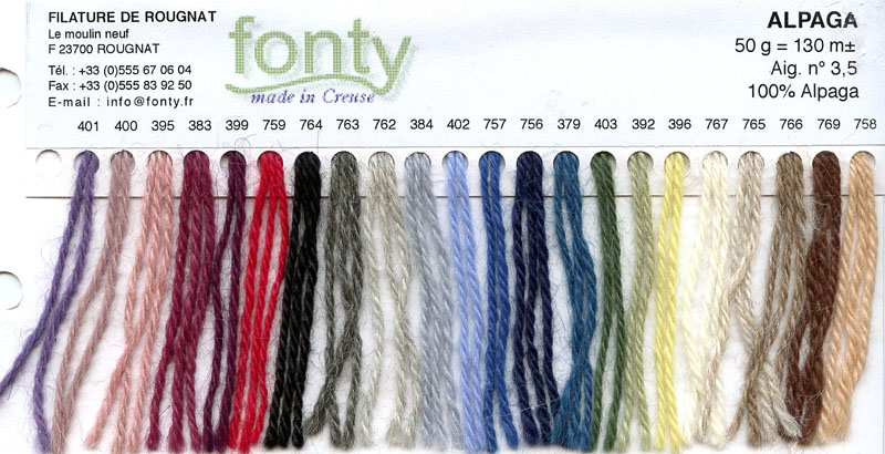 Gamme couleurs de la laine Alapga de Fonty